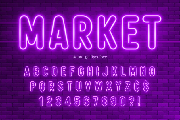 ネオンライトアルファベットと余分な輝くフォントデザイン