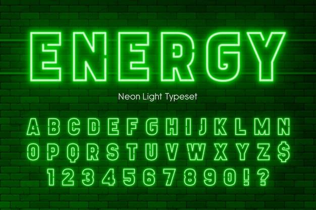 ネオンライトアルファベット、余分な輝くフォントデザイン