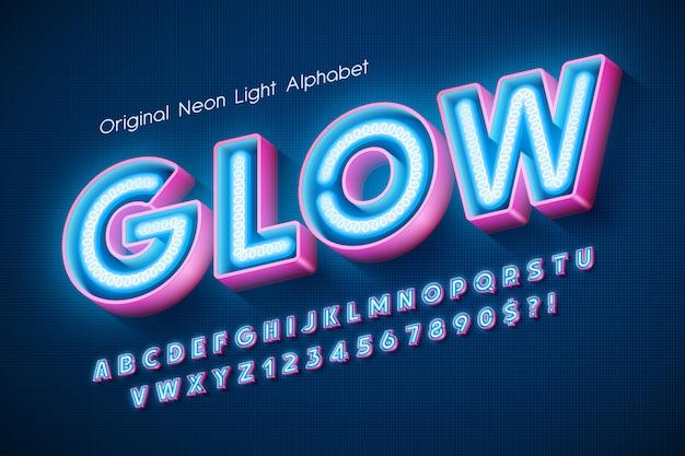 Неоновый свет алфавит, дополнительный светящийся современный тип.