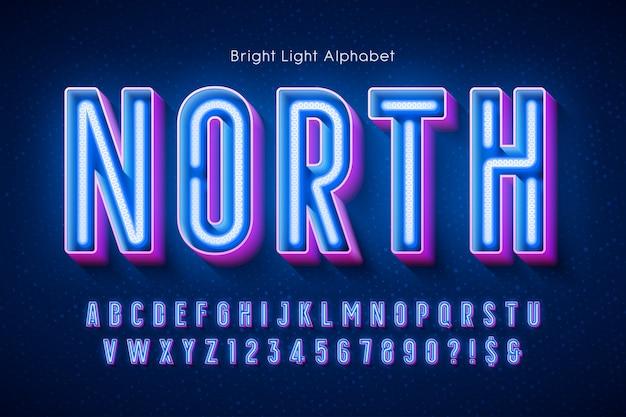 Неоновый свет алфавит, современный светящийся тип.