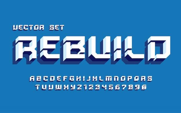 Векторный набор тяжелых и твердых строчных букв алфавита и цифр