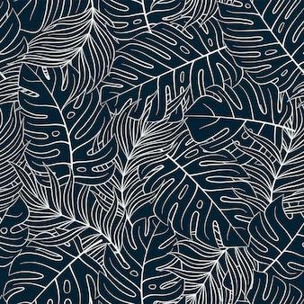 Тропический бесшовные природный узор из экзотических листьев.