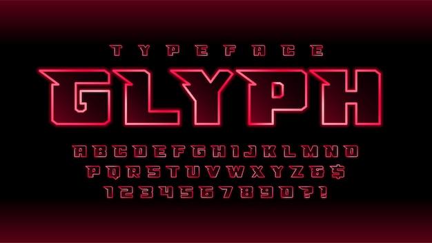 Светящийся футуристический научно-фантастический алфавит, набор творческих персонажей.