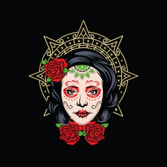 頭蓋骨の少女のロゴ