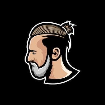 ひげを生やした男のマスコットのロゴ