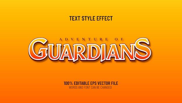 Редактируемый текстовый эффект приключения стиля игры хранителей