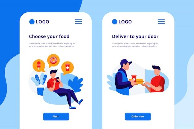Иллюстрация мобильного приложения доставки еды
