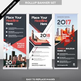 都市背景ビジネスロールアップ旗バナーデザインテンプレートセット。