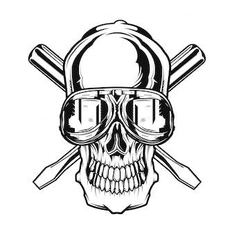 Изолированные череп с очки на и ключи