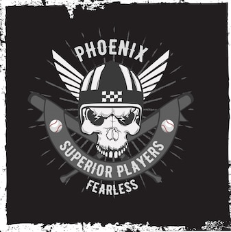 手でオートバイのラベルには、頭蓋骨とヘルメット、翼が描かれています。