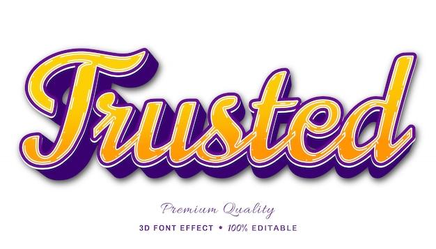 Сильный и стильный редактируемый текстовый эффект - доверенный