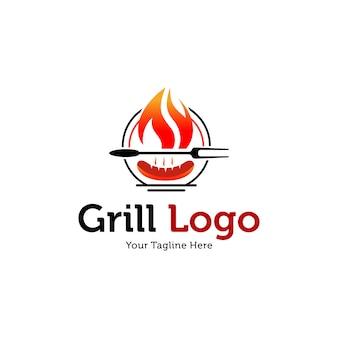 ホットグリルのロゴのテンプレート