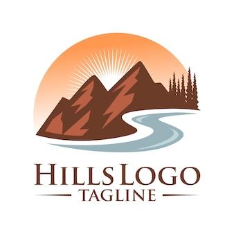 Пейзаж холмы векторный дизайн логотипа
