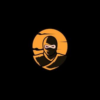 Ниндзя дизайн логотипа векторного