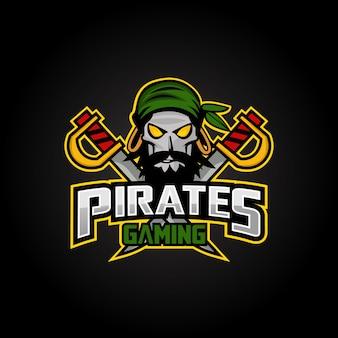 Пираты талисман спорт эспорт дизайн логотипа