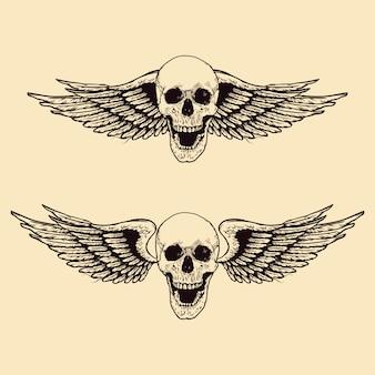 手描きの翼のある頭蓋骨セット
