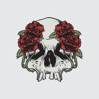 頭蓋骨のバラの死のベクトル図