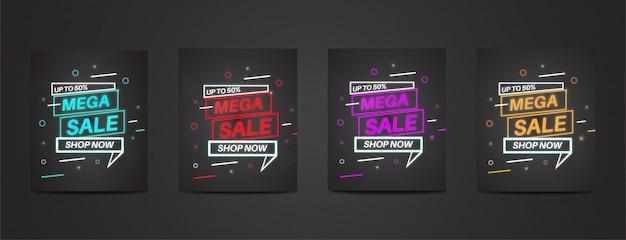 Мега распродажа с полным набором красочных неоновых плакатов