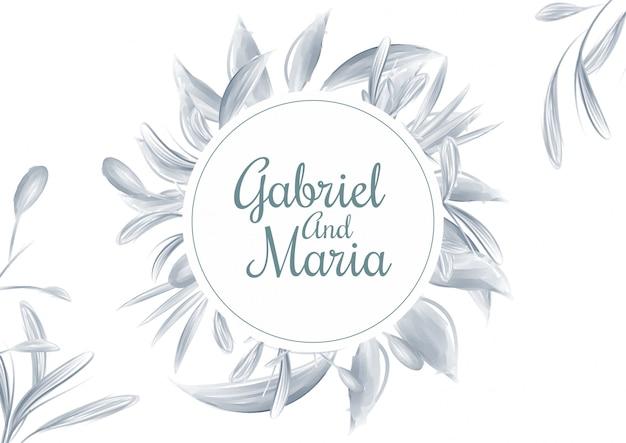 Голубая акварель цветочные свадебные приглашения карты шаблон фона