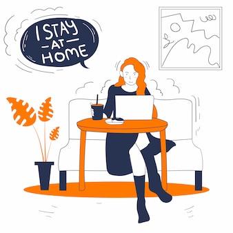 Иллюстрация женщина работает на ноутбуке на дому премиум