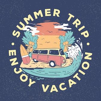 レトロな古いワゴン車夏イラスト。