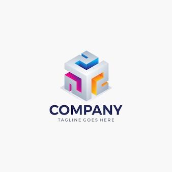 技術、ビジネス、会社の抽象的なキューブ形状の明るい色。ロゴのデザインテンプレートです。