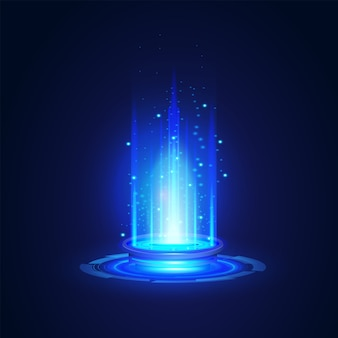 現代のネットワーク科学技術未来の要約、ポータルおよびホログラムの未来的な円要素。イラストデザインテンプレート