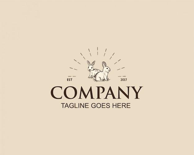 ビンテージウサギのロゴの設計