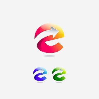 Набор буквы е начальная стрелка вперед следующий логотип дизайн шаблона