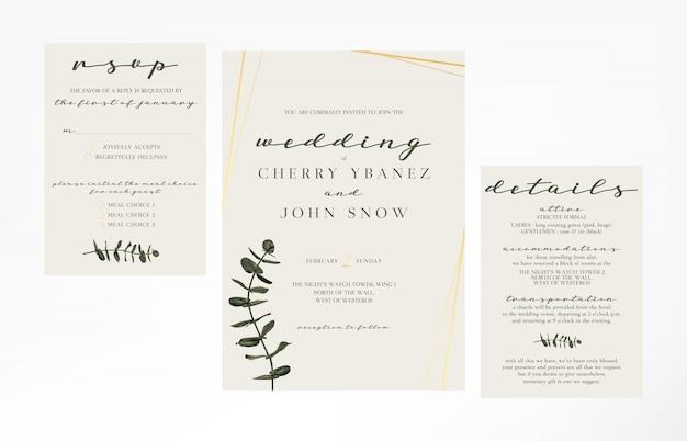 シンプルでシンプルな女性らしい結婚式招待状のテンプレート