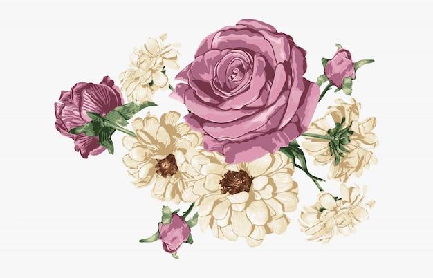 Розовая роза и белые ромашки сладкий цветочный букет