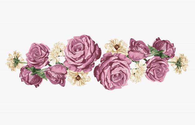 ピンクのバラと白のデイジー甘い花の花束