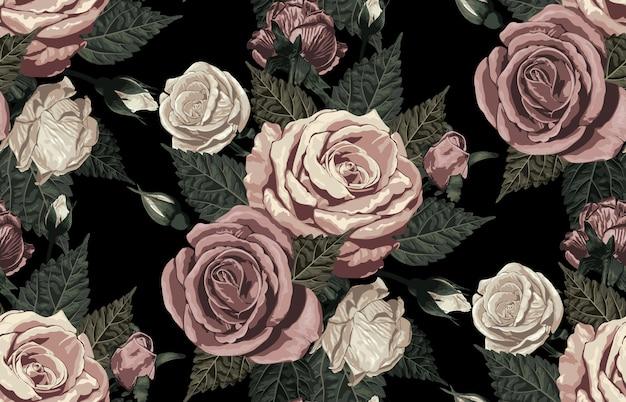 赤面トーンの素朴なバラのエレガントなシームレスパターン