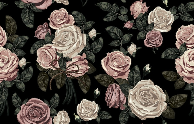 Элегантный бесшовный образец румян тонированных деревенских цветов