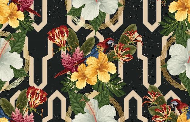Элегантный бесшовный узор из тропических животных, цветов и листьев