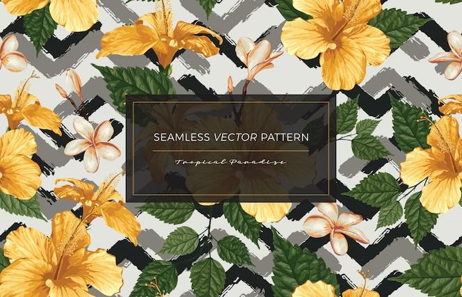 熱帯の花シームレスなパターン。