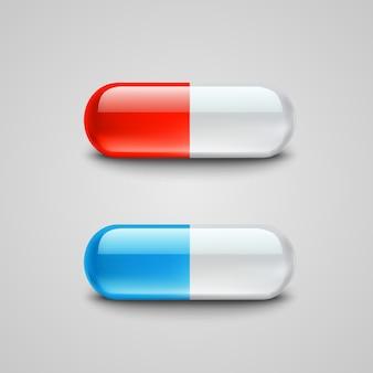 Фотореалистичные синие и красные таблетки иллюстрация
