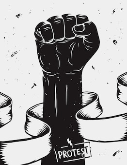 Плакат протеста, поднятый кулак проведен в знак протеста