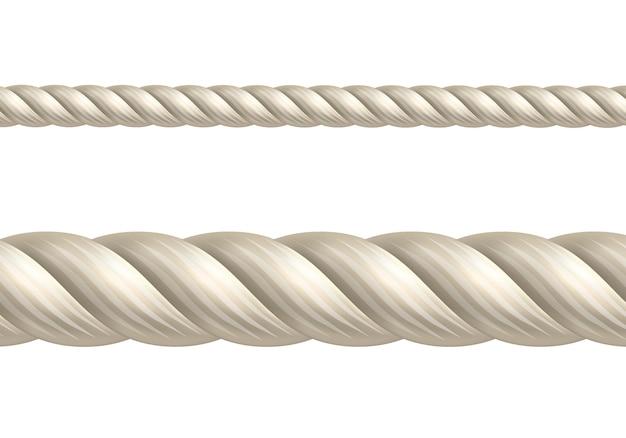 白地にベージュのロープ