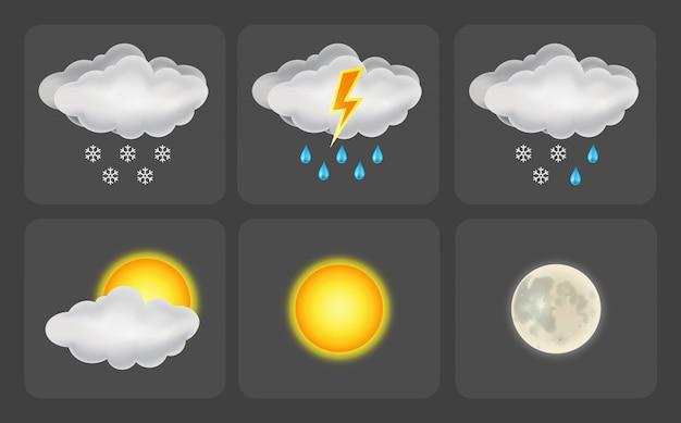 Набор иконок погоды. иллюстрация