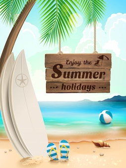 Предпосылка летних отпусков - доска для серфинга на против пляжа и волн. иллюстрация