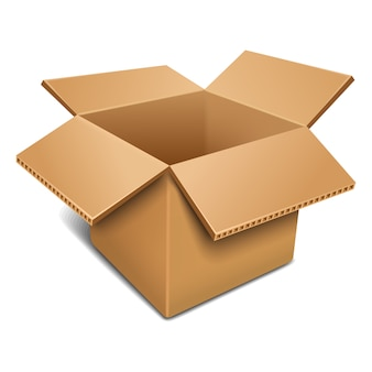 Открытая картонная коробка.