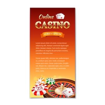 カジノ垂直バナー、チラシ、ルーレットホイール、ゲームカード、チップのカジノテーマのパンフレット