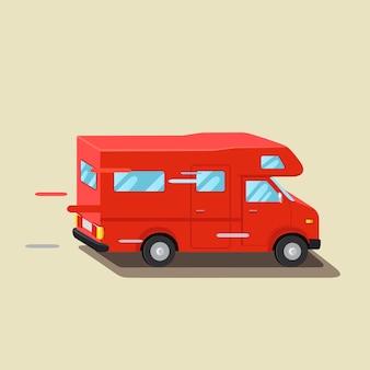 Караван туристическая машина, автоприцеп. семейный путешественник грузовик, летняя поездка. трейлер домой