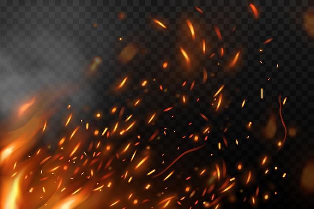 Пламя с огненными искрами