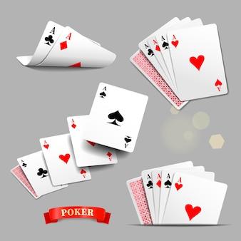 Игральные карты, четыре туза игральных карт.