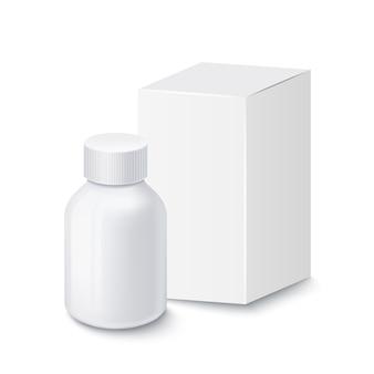 Медицинская белая пластиковая бутылка для таблеток с белой картонной упаковкой