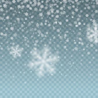 落ちてくる白い雪の結晶。現実的な雪の効果。