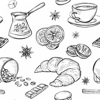 スケッチ落書きコーヒー図面のシームレスパターン、コーヒーセットの手作りスケッチ