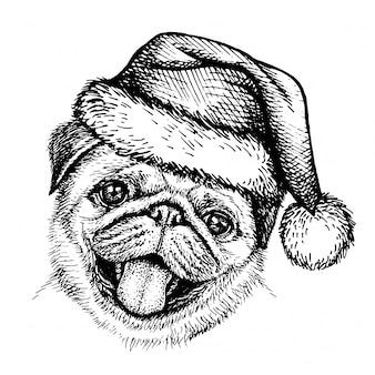 サンタクロースの帽子で犬をスケッチします。サンタの帽子に子犬パグの肖像画の手描きクリスマス画像。